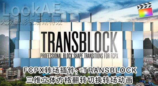 FCPX 转场插件:112组三维立体方格翻转切换转场动画 PFS - TRANSBLOCK