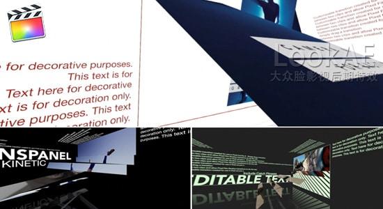 FCPX转场插件:高级动态面板图文翻转动画 TransPanel Kinetic