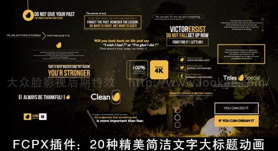 FCPX插件:20种精美简洁文字大标题动画 Gold Clean Titles