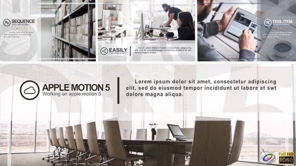 Apple Motion模板:公司商务企业图文栏目包装片头Minimal Corporate Slideshow
