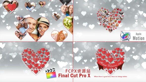 Apple Motion模板:浪漫爱心图片汇聚片头 Romantic Hearts Opener Motion 5-第1张