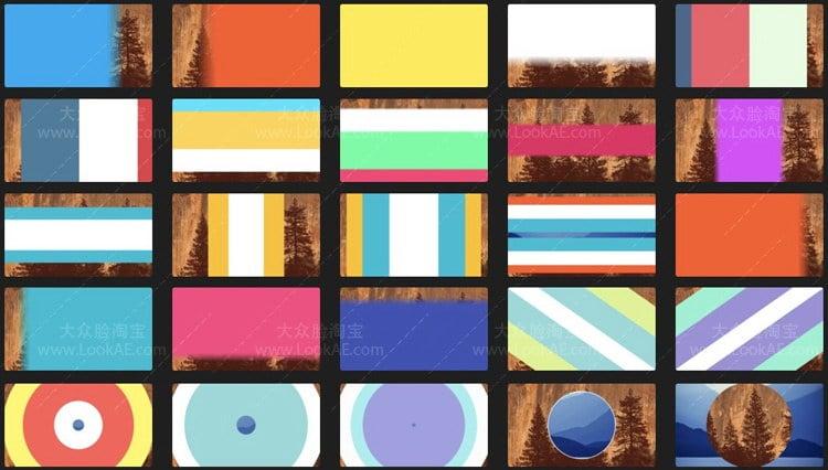 FCPX插件 - 25种简单干净基本彩色图形过渡转场动画 支持4K FCPX 插件-第1张