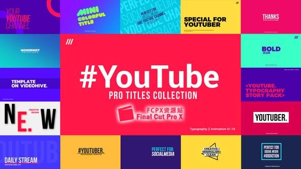 FCPX插件 - 30种大文字标题排版设计动画YouTube Titles Collection FCPX 插件-第1张