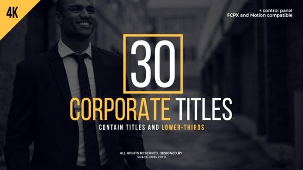 FCPX插件-30种简洁商务文字标题排版动画 30 Corporate Titles FCPX 插件-第1张