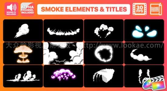 FCPX插件:12个二维卡通手绘烟雾MG动画+3个文字标题动画 FCPX 插件-第1张