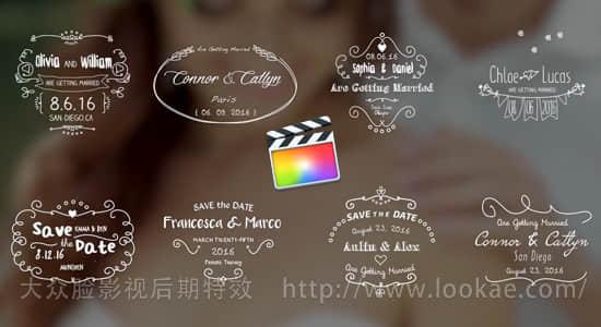 FCPX插件-8种手绘线条婚礼名字日期标题动画 第四季 FCPX 插件-第1张
