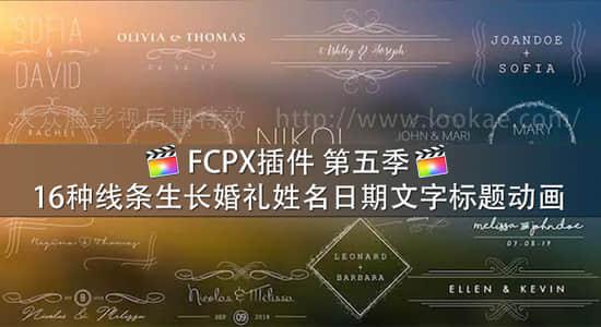 FCPX插件-16种线条生长婚礼姓名日期文字标题动画 第五季 FCPX 插件-第1张