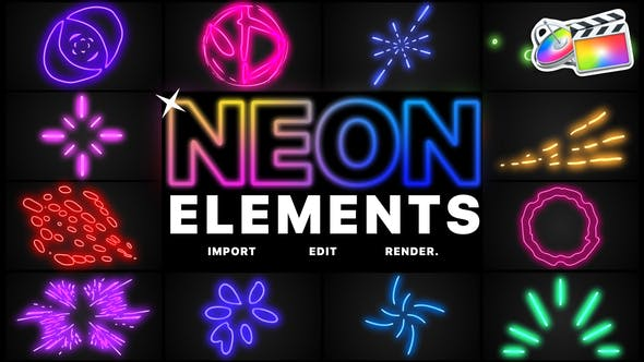 FCPX插件-炫酷霓虹发光多彩线条MG动画元素 Neon Elements FCPX 插件-第1张