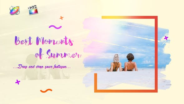 FCPX模板-夏季旅行优雅画笔涂抹遮罩照片电子相册图文介绍展示 Bright Summer Slideshow+使用教程 FCPX 插件-第1张