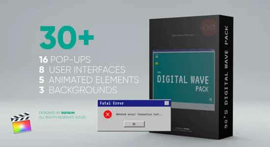 FCPX插件-32个九十年代经典Windows电脑弹窗界面动画 90s Digital Wave Pack + 使用教程 FCPX插件-第1张