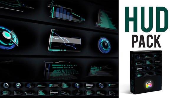 FCPX插件-20个未来科技感HUD信息图表元素动画 HUD Elements Pack FCPX插件-第1张