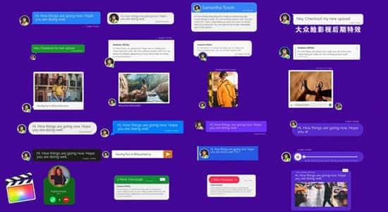 FCPX插件-120种手机短信社交聊天语音视频弹窗对话动画包+60个Emojis表情动画 Message Toolkit V.2 FCPX 插件-第1张