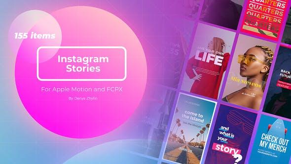 FCPX插件-155个时尚流行竖版海报封面图文排版设计动画 Instagram Stories Builder FCPX插件-第1张
