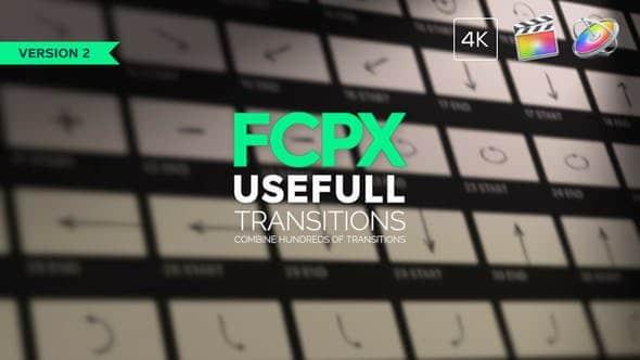 FCPX插件-100个摄像机运动弹跳旋转推拉变焦缩放调节层方式转场预设 Usefull Transitions FCPX插件-第1张