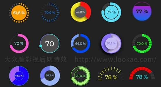 FCPX插件-15个圆形数据百分比图形动画 Circle Chart Graphics FCPX插件-第1张