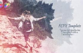FCPX模板-中国风复古水墨晕开遮罩图文展示开场 Ink Slideshow