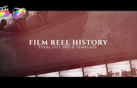 FCPX模板-复古炫光电影胶片刮痕图文宣传介绍开场 Film Reel History+使用教程