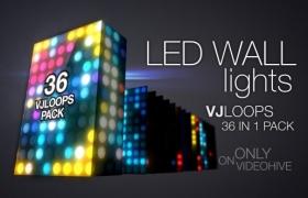 VJ视频素材:36个LED大屏幕灯光闪烁背景动态循环素材 LED Wall Lights VJ Loops Pack