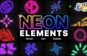 FCPX插件-炫酷霓虹发光多彩线条MG动画元素 Neon Elements