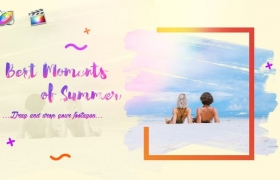 FCPX模板-夏季旅行优雅画笔涂抹遮罩照片电子相册图文介绍展示 Bright Summer Slideshow+使用教程