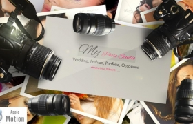 Apple Motion模板:单反照相机照片堆积展示Photographer Logo V2