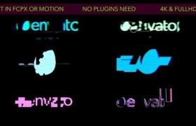 FCPX插件:6个信号干扰损坏LOGO片头 Glitch Logos 支持4K