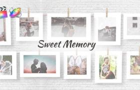 FCPX模板-浪漫甜蜜回忆悬挂晾晒照片电子相册动画Sweet Memories+使用教程