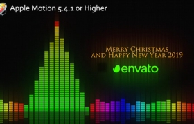 Apple Motion模板-音频均衡器动画片头 Audio Meter Christmas Wishes