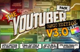 FCPX插件:170个卡通动漫LOGO标题转场字幕条包装动画包 Comic Edition V3.0 + 使用教程