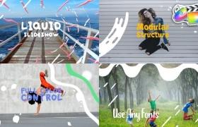 FCPX插件-10种可爱卡通水流液体MG图形元素文字标题动画 Colorful Liquid Slideshow