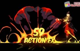 FCPX插件:59个卡通能量爆炸水流火焰烟雾MG动画元素