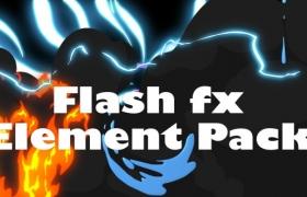 视频素材:158个二维卡通能量水流烟雾MG动画元素 Flash Fx Element Pack