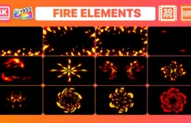 FCPX插件-12组二维卡通动漫火焰燃烧动画 Fire Elements And Backgrounds