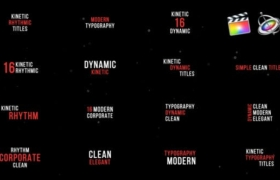 FCPX插件-16个文字标题动态排版动画 Kinetic Titles