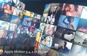 Apple Motion模板-多画面三维照片墙动画展示片头 MultiScreen Studio V3