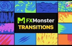FCPX转场插件-12种二维卡通图形遮罩转场过渡 Stylish Transitions