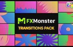 FCPX转场插件-12种二维卡通彩色渐变图形遮罩转场过渡 Colorful Transitions