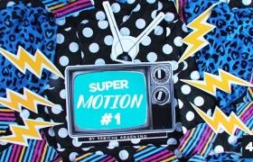 Apple Motion模板-复古抽帧定格元素动画片头 Super Motion 1
