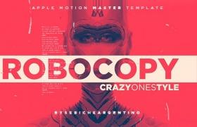 Apple Motion模板-动感时尚污渍闪烁风格化视频包装开场片头 ROBOCOPY
