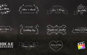 FCPX插件-10组浪漫爱情小清新线条婚礼文字标题动画 Wedding Titles