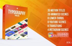 FCPX插件:时尚文字标题字幕条转场图像排版场景包装动画