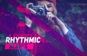 FCPX模板-数字故障失真幻灯片图文介绍开场 Rhythmic Slides