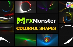 FCPX插件-12个彩色缤纷拖尾MG图形动画 Colorful Shapes