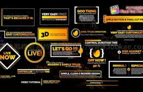 FCPX插件:20种现代商业文字标题排版动画 Final Cut Pro X