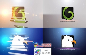 Apple Motion模板:迷你简洁切片效果LOGO展示片头Minimal Slice Logo V2