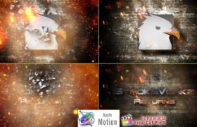 Apple Motion模板:火星粒子冲击LOGO片头 Cinematic Fire Impact Logo