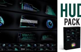 FCPX插件-20个未来科技感HUD信息图表元素动画 HUD Elements Pack