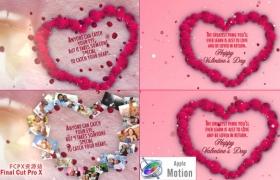 Apple Motion模板:浪漫情人节玫瑰心形花瓣片头 Valentines Day Wishes
